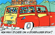 Road Trip Drawings Framed Prints - How many stickers can a sticker-licker stick Framed Print by Eldon Frye
