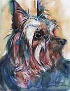 Yorkshire Terrier Watercolor Posters - How Much Longer Poster by Marias Watercolor