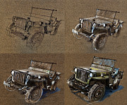 Cards Vintage Drawings Framed Prints - How to draw a 1943 Willys Jeep MB car Framed Print by Daliana Pacuraru