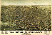 Vintage Map Paintings - Howards map of Buffalo New York 1880 by MotionAge Art and Design - Ahmet Asar