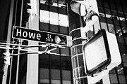 Howe Prints - howe street downtown street sign signs at night Vancouver BC Canada Print by Joe Fox