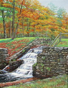 Waterfall Pastels Originals - Howes Waterfall by Linda Spencer