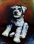 Miniature Schnauzer Paintings - Howie by Arleana Holtzmann