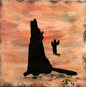Western Ceramics Posters - Howling at the Moon Poster by Gail Schmiedlin