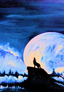 Wolf Howling Paintings - Howling at the Moon by Sheri Marean