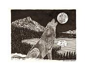Howling Coyote Full Moon Ho0wling Print by Jack Pumphrey