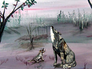 Howling Paintings - Howling for her mate by Gloria Koch