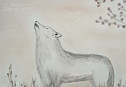 Animal Portraits Pastels Prints - Howling Grey Wolf Print by Christine Corretti