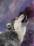 Howling Paintings - Howling wolf  by Harm  Plat