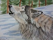 Wolverine Paintings - Howling Wolf in Winter by Brenda Brown