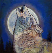 Luna Painting Posters - Howling Wolf Poster by Michael Creese