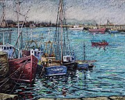 Greeting Cards Pastels Prints - Howth Harbour  Dublin Print by John  Nolan