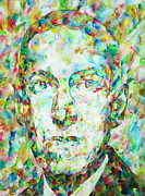 Lovecraft Prints - H.P. LOVECRAFT watercolor portrait Print by Fabrizio Cassetta
