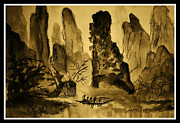 Boaters Painting Prints - Huangshan Mountains and Boaters Print by Peggy Leyva Conley