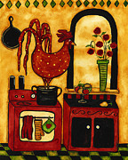 Tuscan Hills Framed Prints - Hubbs Art Folk Prints Country Farm Funny Whimsical Rooster Kitchen Framed Print by Debi Hubbs