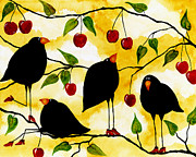 Fruit Tree Art Paintings - Hubbs Art Folk Prints Debi Hubbs Whimsical Crow Birds Blackbird Fruit Cherries by Debi Hubbs