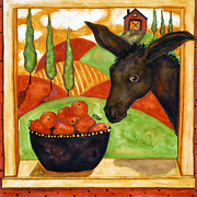 Italian Kitchen Paintings - Hubbs Art Folk Prints Debi Hubbs Whimsical Italian Tuscan Donkey Kitchen Apple by Debi Hubbs