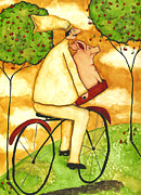 Pig Paintings - Hubbs Art Folk Prints Whimsical Farm Animals Country KItchen Chef Pig Bike Ride by Debi Hubbs