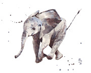 Baby Boy Posters - Hubert Hurry Elephant Poster by Alison Fennell
