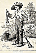 Huckleberry Drawings Posters - Huckleberry Finn Illustration Drawing Print Poster by E W Kemble