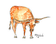 Longhorns Prints - Huddle Up You Guys Print by Kathleen McElwaine