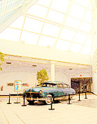 Steel Mixed Media Posters - Hudson Car Under Skylight Poster by Design Turnpike