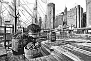 Live Art Framed Prints - Hudson Harbor Framed Print by Yury Malkov