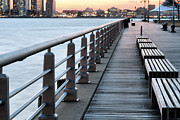 Benches Prints - Hudson River Park Print by JC Findley