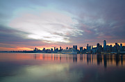 Nyc Digital Art Metal Prints - Hudson River Sunrise NYC Metal Print by Bill Cannon