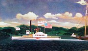 Towboat Framed Prints - Hudson River Towboat - P Crary Framed Print by Pg Reproductions
