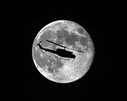 Helicopter Digital Art Prints - Huey Moon Print by Al Powell Photography USA