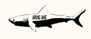 Fishing Digital Art Prints - Hug me shark - Black  Print by Pixel  Chimp