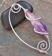 Wire-wrapped Jewelry Originals - HUGE Amethyst and Silver Shawl Pin by Heather Jordan