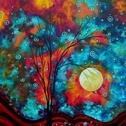 Moon Paintings - Huge Colorful Abstract Landscape Art Circles Tree Original Painting DELIGHTFUL by MADART by Megan Duncanson
