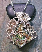 Jordan Jewelry - HUGE Steampunk Bismuth and Swarovski Crystal Pendant in Silver STMBSM9 by Heather Jordan