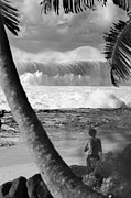Sean Davey Framed Prints - Huge surf in Hawaii. Framed Print by Sean Davey
