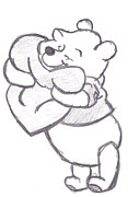 Cuddly Drawings Prints - Huggable Pooh Bear Print by Melissa Vijay Bharwani