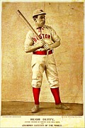 Baseball Uniform Prints - Hugh Duffy Boston Red Sox 1895 Print by Audreen Gieger-Hawkins