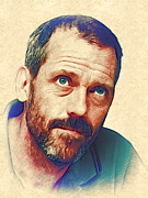 House Digital Art Originals - Hugh Laurie by Marina Likholat