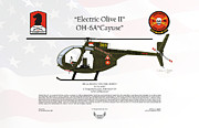 Low Wing Prints - Hughes OH-6A Cayuse Electric Olive II Print by Arthur Eggers