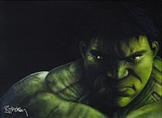 Canvas Painting Originals - Hulk by Barry Mckay