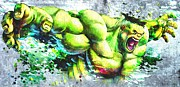 Incredible Hulk Framed Prints - Hulk Grunge Framed Print by Daniel Janda