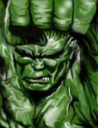 Incredible Hulk Framed Prints - Hulk Smash Framed Print by Glenn Cotler