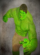 Bruce Banner Mixed Media Prints - Hulk the Angry Guy Print by David Dehner