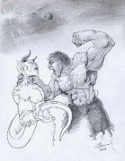 Hulk Drawings - Hulk vs Devil by Theon Guillory