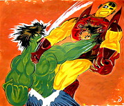 Hulk Paintings - HULK vs IRON MAN  by Jazzboy