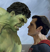 Incredible Hulk Framed Prints - Hulk vs Superman Framed Print by Spears