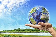 World Peace Art - Human Hand Holding Earth Globe by Leonello Calvetti
