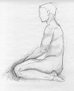 Vintage Painter Drawings Prints - Human sitting figure Print by Peut Etre