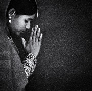 Indian Woman Prints - Humble Prayer in Monochrome Print by Tim Gainey